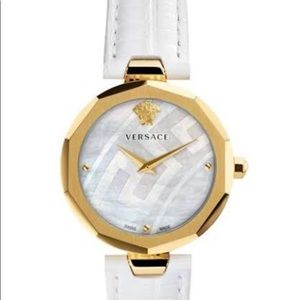 Versace Idyia Lizard Embossed White  Leather Watch